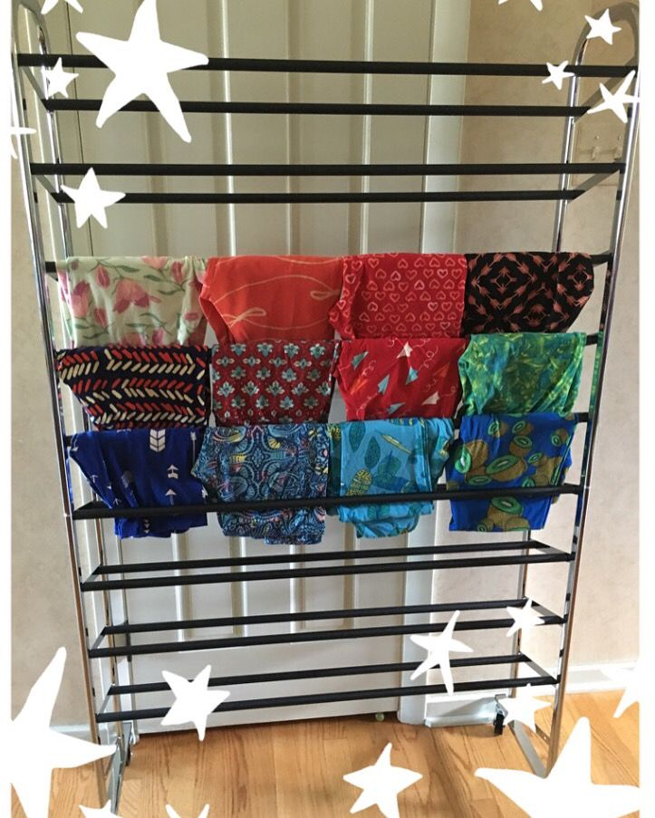 Amazon shoe rack as leggings display Shipping is always free in the USA.  http://leggingarmy.com/#KimzLeggings