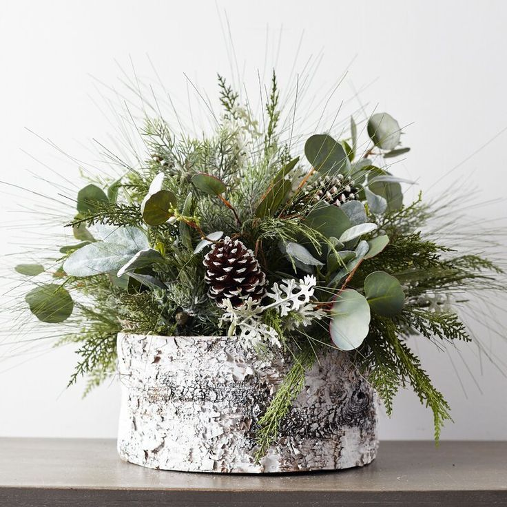 Large Christmas Greenery Frosted Pinecone Centerpiece Arrangement In White Faux Birch Base In 2021 Christmas Floral Arrangements Christmas Greenery Christmas Table Centerpieces