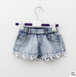 Розничная высокой Qualtiy кружевные украшения джинсовые шорты девушки в летних коротких штанишках US $11.05