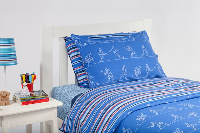 The Sportsmen 2 quilt cover by Cool Kids Rooms teams the fabulous Sportsmen design with a modern stripe.