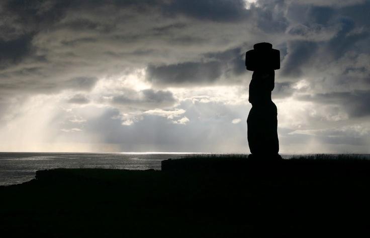 Moai at sunset, Rapa Nui