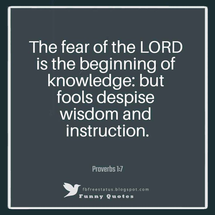 """The fear of the LORD is the beginning of knowledge: but fools despise wisdom and instruction.""― Proverbs 1:7"