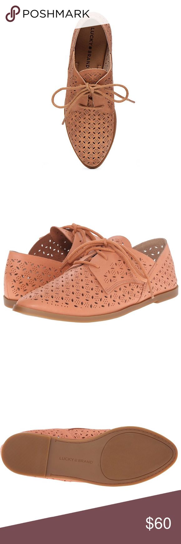 Lucky Brand Perforated Oxfords Oxford flats featuring a lace-up closure and textured detailing. Size 7 Color: Peony Pink/Nude Like  • 0.43 inches high • Leather upper, synthetic lining, rubber outsole Lucky Brand Shoes Flats & Loafers