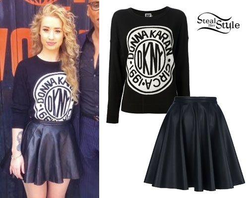 Iggy Azalea Dkny Sweater Leather Skirt Style Pinterest Iggy Azalea Leather And Skirts