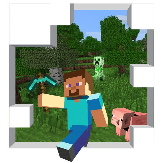 Huge Minecraft Mural X By WilsonGraphics On Etsy - 3d minecraft wall decals