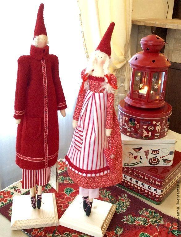 Купить Мальчик и девочка Пикси - ярко-красный, санта тильда, тильда кукла, тильда ангел