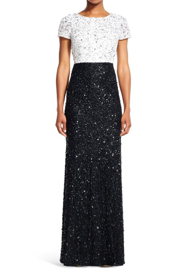 Adrianna Papell Black And White Sequin Colorblock Gown Poshare Sequin Beaded Two Tone Colorbloc Long Sleeve Evening Dresses Wedding Guest Outfit Guest Outfit