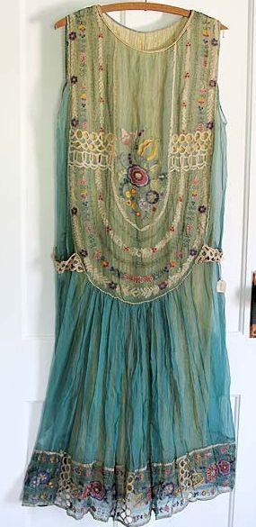 1920s embroidered chiffon dress.