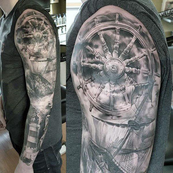 Ship Wheel Nautical Full Sleeve Tattoo On Gentleman