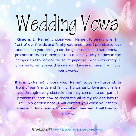 Unique Wedding Vows | Funny Wedding Marriage Vows - Silly ...