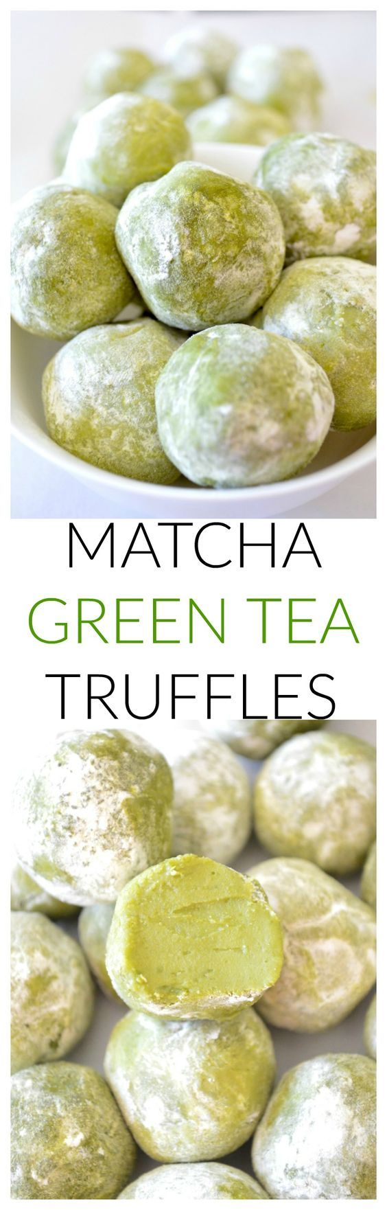 These 5 ingredient matcha green tea truffles are sweet, rich, and delicate green tea flavored chocolate treats!: