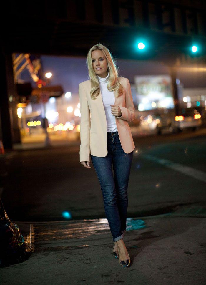 Kavaj och polo från Zara, jeans Acne och silverpumps från Michael Kors. #sofifahrman