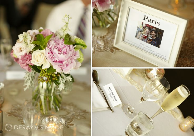 Pretty pink peonies as the table center piece, complimented by candles and framed photos of the couples travels. Wedding reception styling, ideas and inspiration.  Reception Venue: Mosman's Restaurant  Photography by DeRay & Simcoe