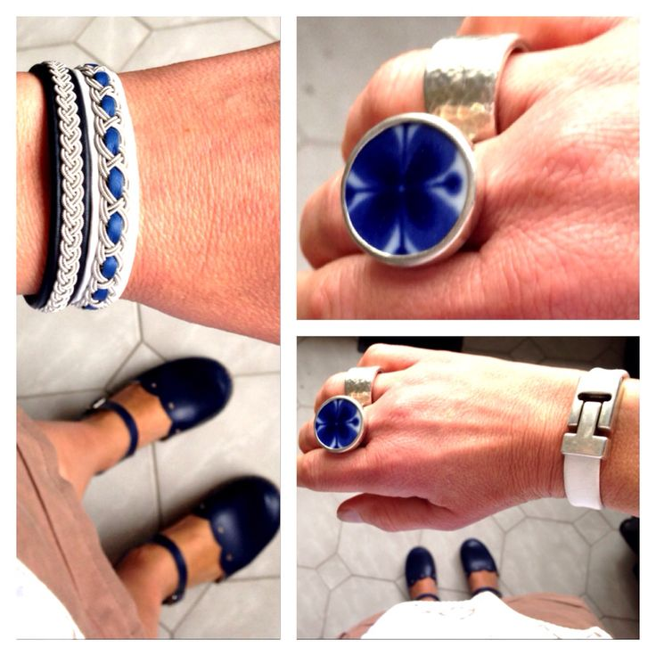 It is blue and white day at work with blue and blue&white Sami bracelets, blue Sandgrens clogs and Monamie ring från Sägen.