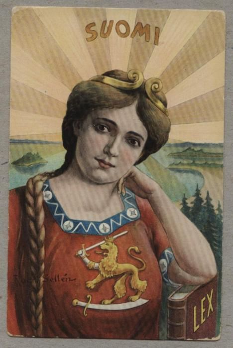 Finland's resistance to Russification took many forms. It can even be seen in postal history.  This postcard depicts a Finnish woman with a lion on her breast and Lex, the Finnish law at her side. It also illustrates with subtle symbolism the rising sun, a clear reference to Japan, who defeated the Russians in the Japanese/Russian war in 1904-05.