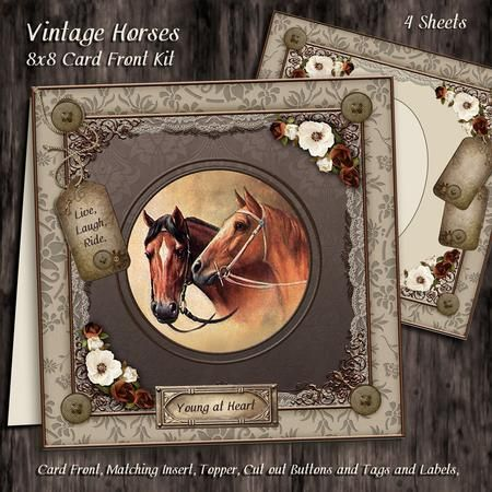 Vintage Horses 8x8 Card Front Kit on Craftsuprint designed by Maria Christina Vieira  - Vintage Horses 8x8 Card Front Kit,A stunning Vintage card front kit approx. 8x8, comes with four sheets, matching insert,Toppers, matching Tag and also comes with multiple tags and labels. Makes a fine card forhorse lovers and almost any occasion.Tags:Hot to Trot,Live,Love,Ride.,Be Happy,Young at Heart,Best Dad,Kickin' on,Mum,50.th 40.th 65.th 75.th-Labels:Happy Birthday,Best Wishes,Be Happy,Young at…