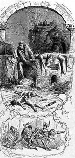 """""""Gilles de Laval, Lord of Rais, performs sorcery on his victims"""", an 1862 illustration by Jean Antoine Valentin Foulquier - Rais was accused of murdering hundreds of children for occult purposes"""