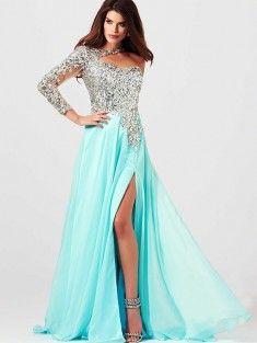 A-Line/Princess One-Shoulder Long Sleeves Floor-Length Chiffon Prom Dress With Rhinestone
