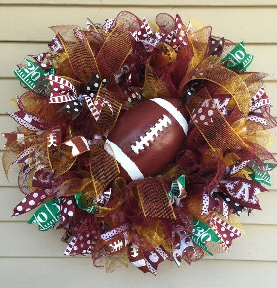 Deco Mesh Football Wreath by Luv2cre8memories on Etsy