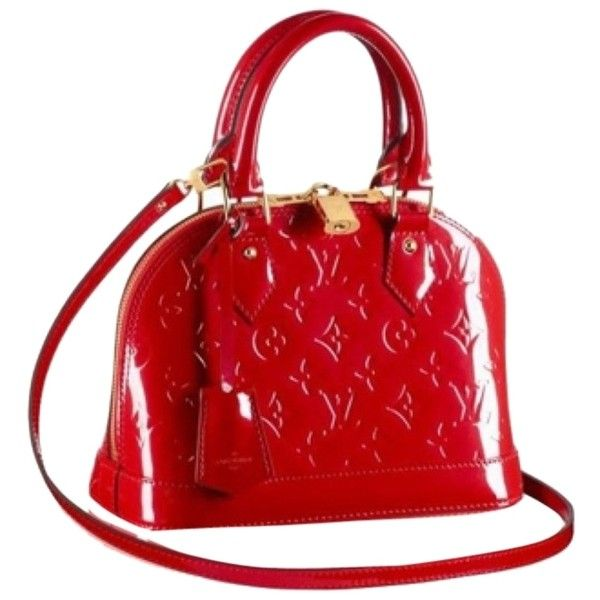 Pre-owned Louis Vuitton Alma Bb M91606 Cross Body Bag ($1,818) ❤ liked on Polyvore featuring bags, handbags, shoulder bags, none, louis vuitton handbags, studded shoulder bag, red studded purse, crossbody handbags and red purse