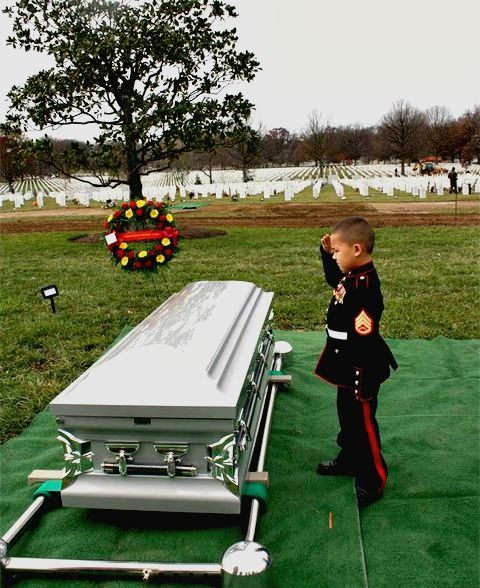 Staff Sergeant Javier Ortiz-Rivera called his boys his little Marines. He loved playing with them and teaching them how to salute and stand tall.  The youngsters used those lessons to bid their father farewell. Wearing tiny Marine uniforms made especially for them, they saluted their father as he was laid to rest at Arlington National Cemetery.