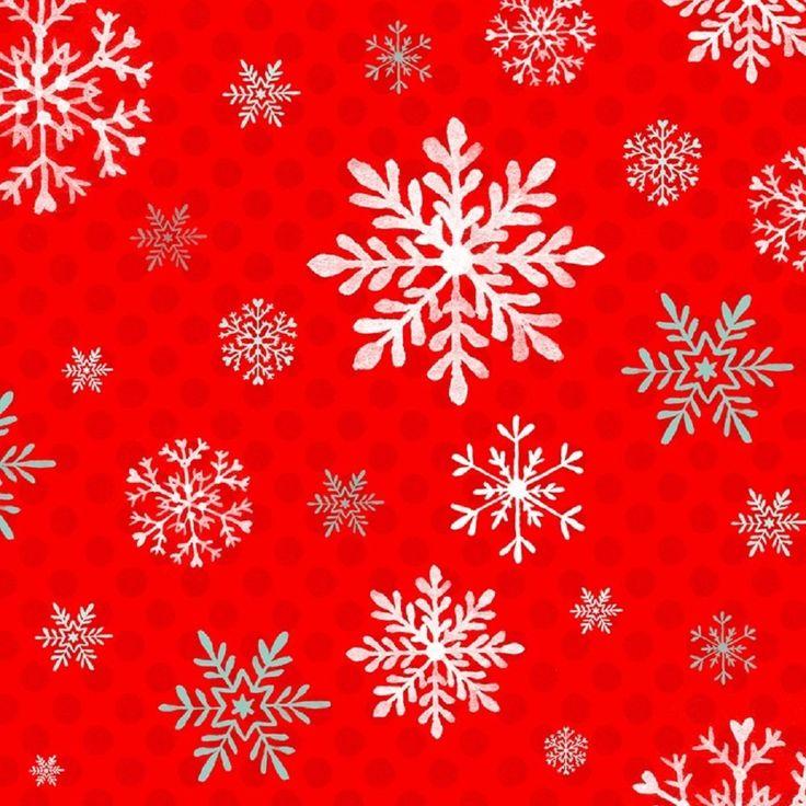 Tela de patchwork roja con copos de nieve en blanco.  Tela de Navidad