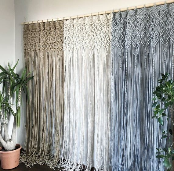 One Or Two Panel Macrame Curtain Macrame Room Divider Macrame Etsy In 2020 Macrame Curtain Curtains Bedroom Macrame Decor