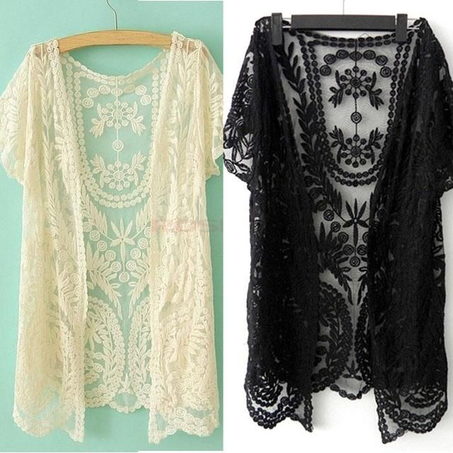 Women's Hollow-Out Shirt Lace Embroidery Floral Crochet Short Sleeve Cardigan One size SV001747 Knitwear (Color: Black)