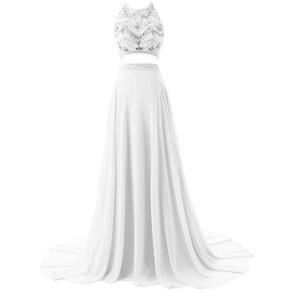 Sisjuly Women's Two Pieces Illusion Neck Beaded Crystals Chiffon Prom... (€155) ❤ liked on Polyvore featuring dresses, white two piece dress, chiffon prom dresses, 2 piece dress, white beaded dress i white prom dresses
