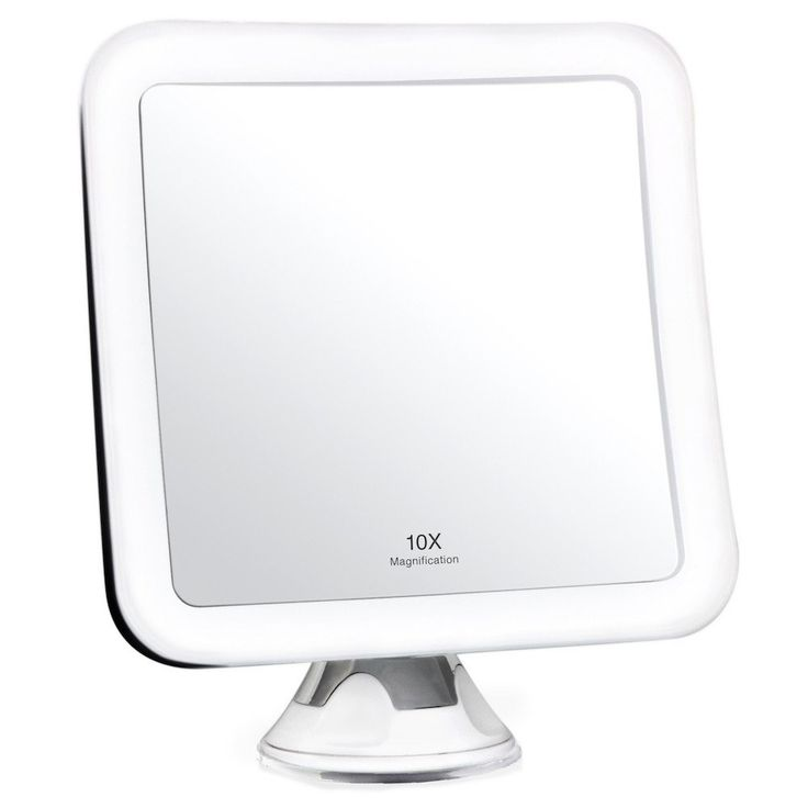 LED Lighted Magnifying Makeup Mirror 10X with Suction Mount - Square