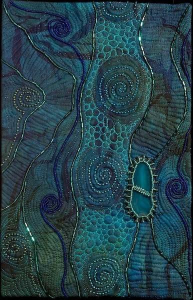 Toward a Dark Shore by Larkin Jean Van Horn. Love the spirals, colors.