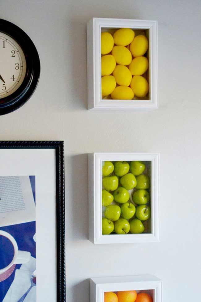 Frutinhas em molduras de madeira decor Pinterest Molduras de