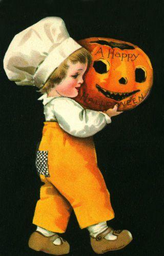 Little chef with pumpkin