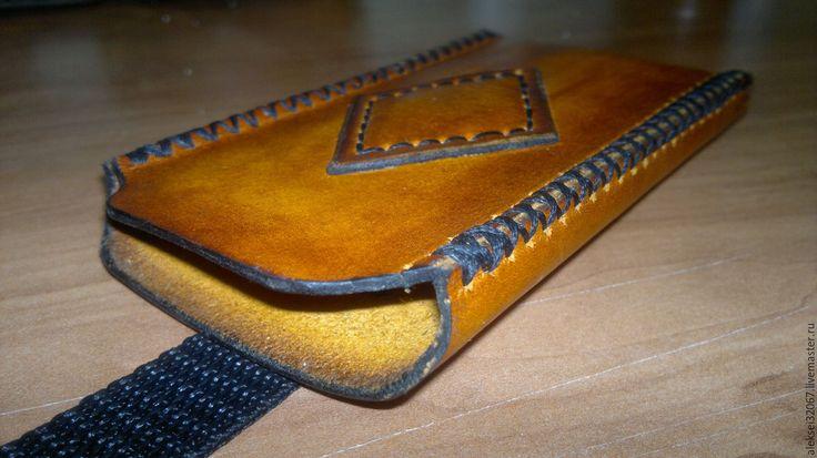 Купить Кожаный чехол для телефона - оранжевый, однотонный, кожаный, кожаный чехол, чехол для телефона, чехол