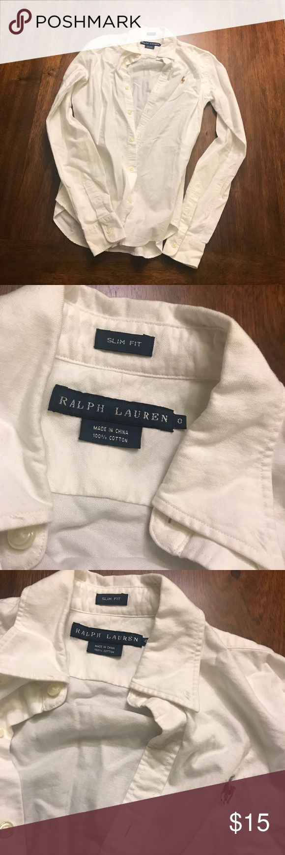 Ralph Lauren white oxford shirt women's size 0 Ralph Lauren white oxford shirt women's size 0, very wrinkly but otherwise in good condition Ralph Lauren Tops Button Down Shirts
