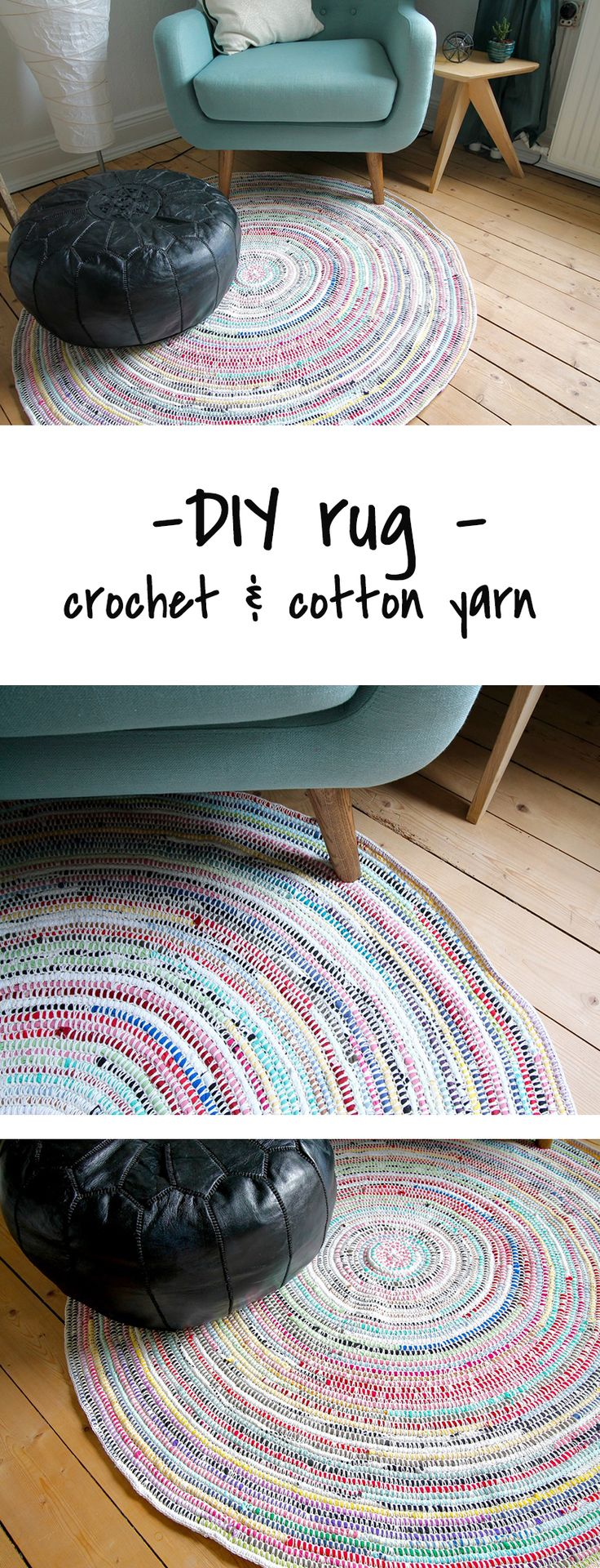 A DIY rug made with crochet and cotton yarn!