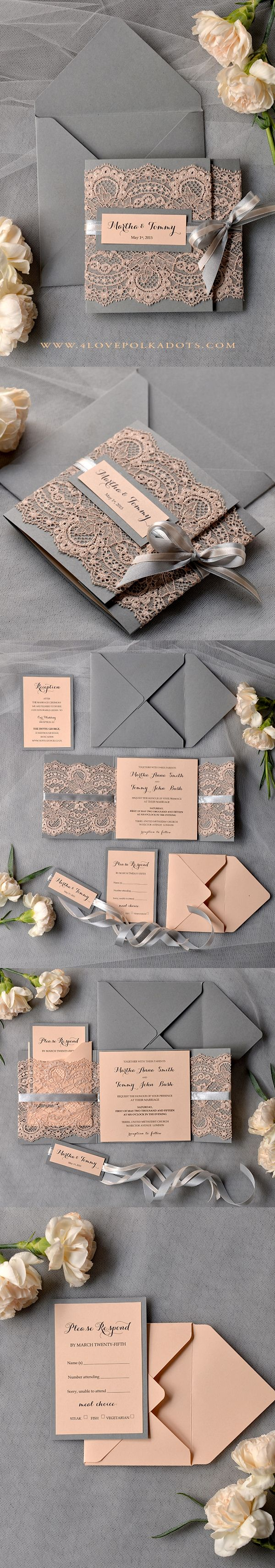 Peach & Grey Lace Wedding Invitations #perfectwedding #weddingideas #lace #romantic #inspiration