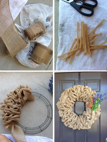 DIY Burlap Wreath - wouldn't have chosen that decoration but whatever floats your boat!!