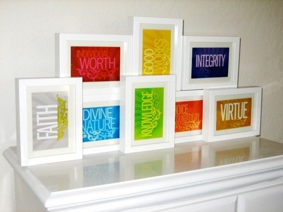 Value prints available on etsy - fun display for Young Women's! Frames from Ikea #youngwomen #newbeginnings
