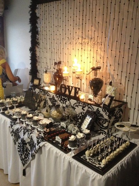 """Black and White Damask"" themed engagement party"
