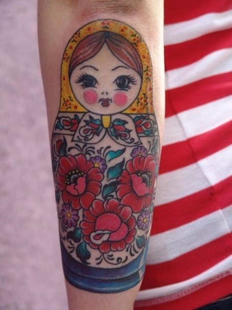 Nesting doll tattoo traditional design and beautiful colors