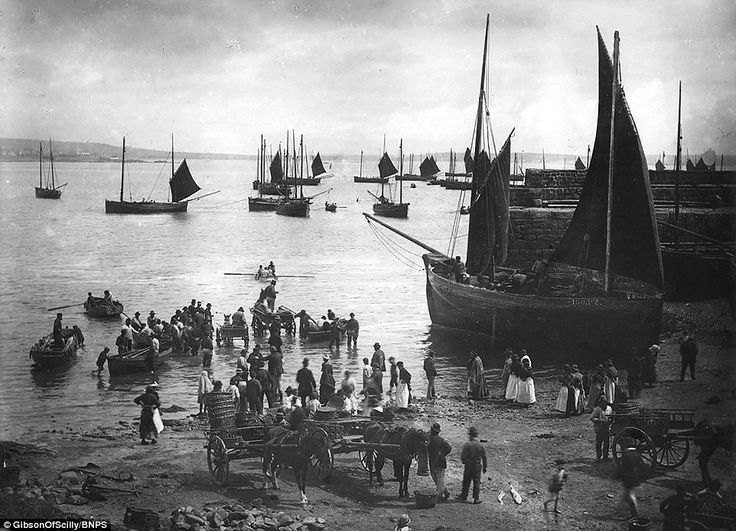This image of the fishing port of Newlyn on the south coast of Cornwall around 1900 is one...