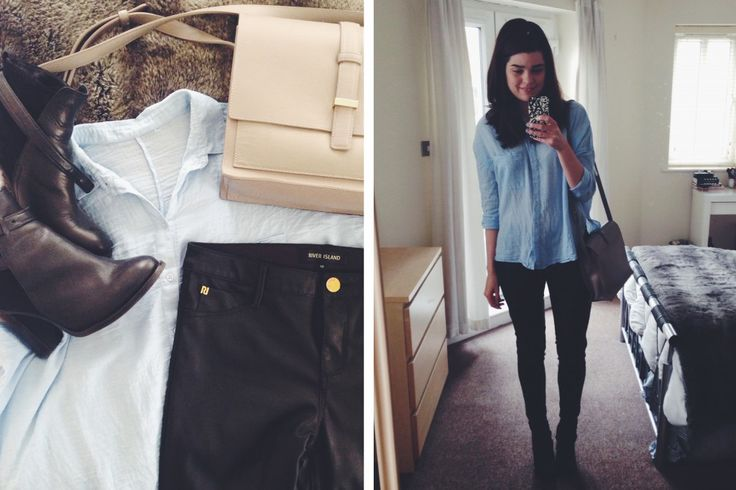 Topshop Blue Shirt // River Island Faux Leather Trousers // Whistles Boots // Whistles Satchel
