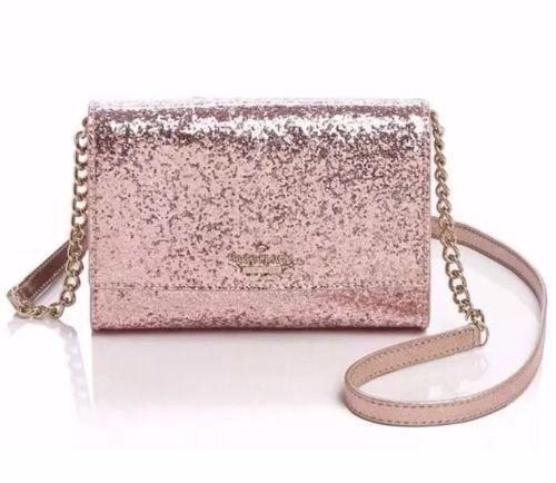 Kate-Spade-Glitter-Bug-Rose-Gold-Cami-Crossbody-Bag-Clutch-Purse-NWT