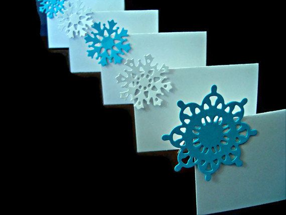 snowflake place cards winter wedding white wedding by wcards