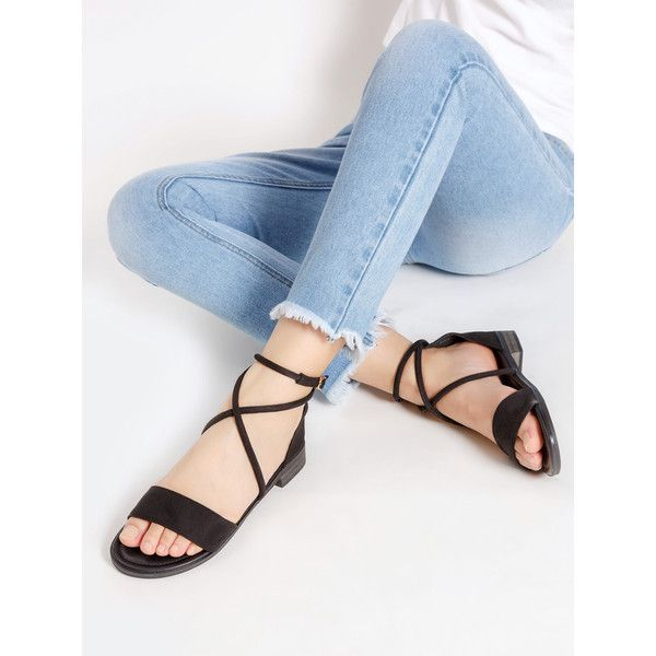 SheIn(sheinside) Open Toe Criss Cross Flat Sandals ($28) ❤ liked on Polyvore featuring shoes, sandals, black, criss-cross sandals, black criss cross sandals, black shoes, flat sandals and peep toe flat sandals
