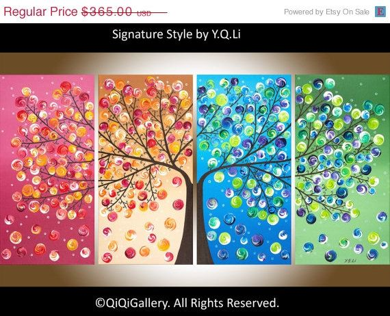 """48"""" Large Abstract Painting acrylic Impasto landscape Painting four seasons Canvas Tree Painting by qiqigallery on Etsy, $273.75"""