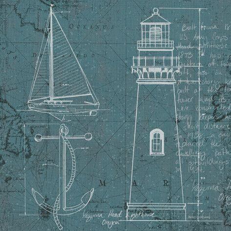 Coastal Blueprint IV Posters van Marco Fabiano bij AllPosters.nl