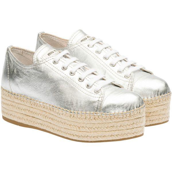 Miu Miu Espadrillas ($595) ❤ liked on Polyvore featuring shoes, silver, miu miu, wedge espadrilles, espadrilles shoes, miu miu shoes and wedge heel shoes