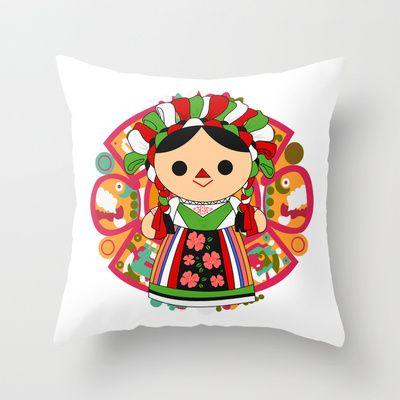Maria 5 (Mexican Doll) Throw Pillow